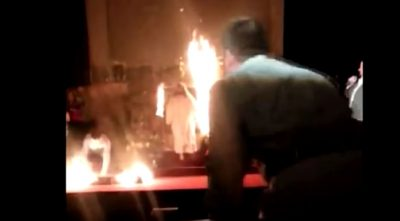 Easter Sunday Play Ends In Flames & Jesus Running Offstage (Caught On Camera)