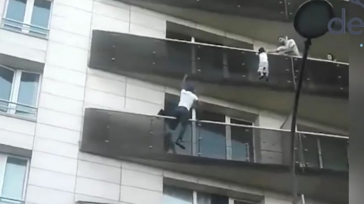 "Real-Life ""Spiderman"" Scales Building to Save a Child 